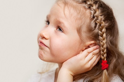 Girl with ear pain